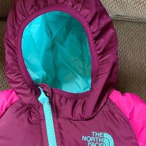 Infant Girls Northface Snowsuit, 0-3 months